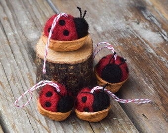 Ladybug in a Walnut Shell - Needle Felted Christmas Ornament