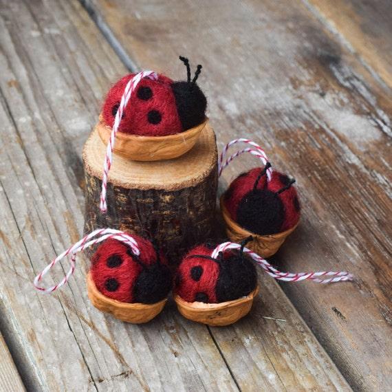 Ladybug in a Walnut Shell - Needle Felted Christmas Ornament