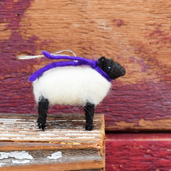 Suffolk Lamb with a Purple Scarf - Needle Felted Christmas Ornament