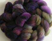 Roving Fiber COLUMBIA Top EGGPLANT VINE Hand Painted Spin Felt Craft 4 ounces Phat Fiber Nuno Knit Crochet Purple Green Spinning Handcraft