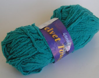 Yarn SALE VELVET TOUCH by Wendy Worsted Turquoise Color 2054 Lot 3964 approx 50 grams 105 meters