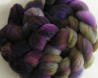 Roving Fiber COLUMBIA Top EGGPLANT VINE Hand Painted Spin Felt Craft 4 ounces Phat Fiber Nuno Knit Crochet Purple Green Spinning Handcraft