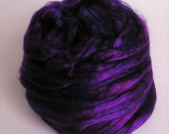 Silk Top Roving Sliver Fiber cultivated Mulberry EGGPLANT Phat Fiber Luxurious Supreme Quality Hand Painted for Handspinning 2 ounces