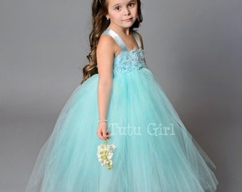 Aqua Flower Girl Dress, Aqua Tutu Dress