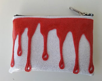 Coin purse white metalflake vinyl with red blood drip