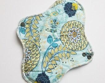 Mama Cloth Menstrual Pad / Cloth Pad ... 10 inch Teal Modern Flower Printed Cotton FREE SHIPPING