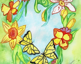 Spring Heart Original Watercolor Painting Floral Heart Daffodils Butterflies Wall Art Spring Illustration Art For Home Nature Inspired