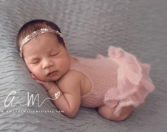 Newborn Romper with Ruffles, Knit Onesie, Newborn Photo Props, Ruffle Bottom Romper, Mohair Romper, Baby Girl Onesie