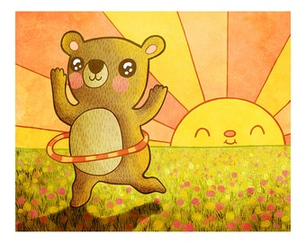Hula Bear - Bear Print Nursery Art Bear Art Hula Hooping Art sunshine Print Bear Illustration Gender Neutral Baby Nursery Animal Art Print