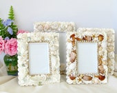 Reserved for Karen Only  Set of 4 Seashell and Lacy Coral Frames Three 4 x 6 and One 5 X 7 Wedding Beach Tropical Cottage Decor