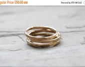 BLACK FRIDAY 50% OFF: Set of Three Gold Stacking Rings. Heavy Gauge Yellow Gold, Minimalist, Simple Jewelry Made to Order