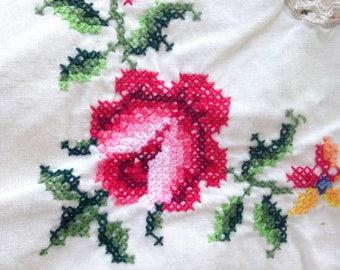 Vintage Cross Stitch Tablecloth with Crochet Ecru 70s 50 x 64