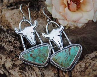 Spirit Bull & Turquoise Cabochon Sterling Silver Earrings, rustic, artisan, metalwork, handmade, boho, Gypsy, Cowgirl