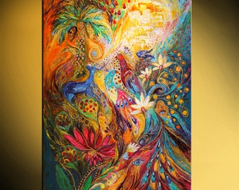 """42"""" painting on canvas mixed technique orange yellow green blue deer red peacock thick paint wall hanging interior design Israeli art"""