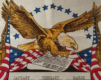 Vintage Bi-Centennial Tea Towel, Linen American Eagle Towel
