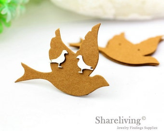 Kraft Paper Bird shape Earring Display Tags, Earring Display Cards, Earring Holder,  Packaging, Blank Design Tag - EDC001C