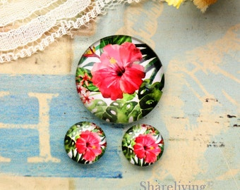 Red Flower Glass Domes, 8mm 10mm 12mm 14mm 16mm 18mm 20mm 25mm 30mm Photo Glass Cabochons  - RCH010D