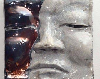 Sad Face Moon Face Buddha Tile: Handmade Raku Buddha Wall Hanging 5 X 5