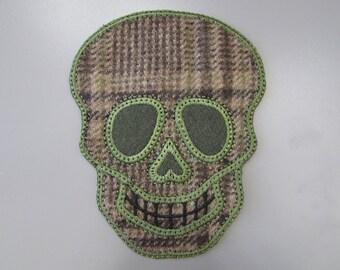 Embroidered Tweed Sugar Skull Applique