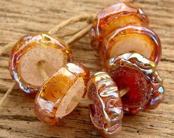 PRETTY IN PINK - Handmade Lampwork Beads - Earring Pairs - 6 Beads