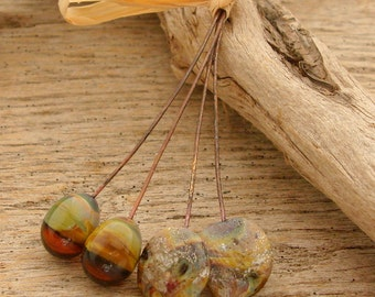 ORGANIC PAIRS - Handmade Lampwork Head Pins - 4 Headpins