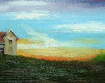 Landscape painting 279 12x24 inch red barn original oil painting by Roz