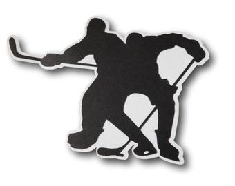 Hockey Players Scrapbook Die Cut - Hockey Scrapbooking - Face Off Scrapbook Silhouette - Hockey Scrapbook Album - Locker Decoration