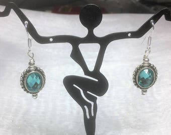 Aqua Antiqued Silver Dangle Earrings #424