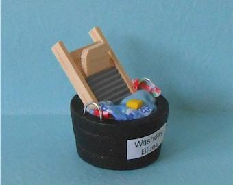 Miniature Wash Tub~Miniature Wash Board~Miniature Laundry Tub~Mini Wash Tub and Board~Miniature Dollhouse Wash Tub and Laundry