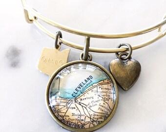 Cleveland Map Charm Bangle Bracelet - Personalized Map Jewelry - Stacked Bangle - Ohio - Midwest - CLE - Bridesmaid Gift