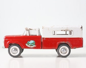 Vintage Nylint Camper, Ford Red and White Pick Up Truck