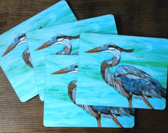 SET OF 4 LARGE Placemats - Blue Heron Placemats - Bird Mosaic Art - Heron Tablemats - Home Decor - Housewarming Gift - Bird Mats  Bird Art