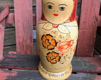 "one Matryoshka Nesting doll russian wood only one very large about 13"" tall use to store stuff inside?"