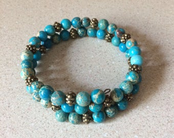 Blue Jasper bead bracelet memory wire bronze accent beads