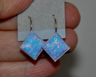 Blue Earrings,  Blue Opal Earrings,  Sterling Silver,  Opal Jewelry,  Opal Drop Earrings,  Lever Back Earrings,  10mm Stone