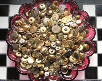 Supplies - 50 gold metal buttons, 50 metal buttons, vintage metal buttons, vintage button lot, gold buttons, craft buttons