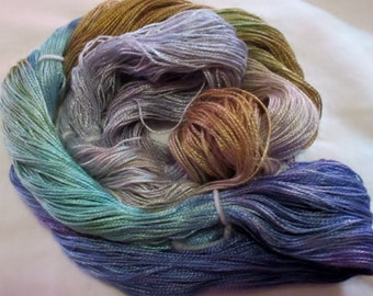 Hand dyed Tencel Yarn - 4/2 Tencel Lace Wt. Yarn  BOAT HOUSE - 420 yards