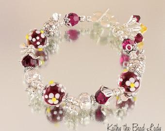 Lampwork Bracelet - Lampwork Cranberry with White Flowers Karen Hill Tribe Bead Bracelet - KTBL