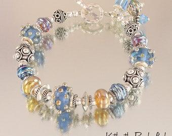 Lampwork Bracelet - Lampwork Blue Metallic Gold Bali Sterling Silver Bead Bracelet - KTBL