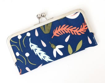 Fall Floral Cell Phone Wallet Clutch with Kisslock Frame Closure in Navy Fall Foliage Print Cotton