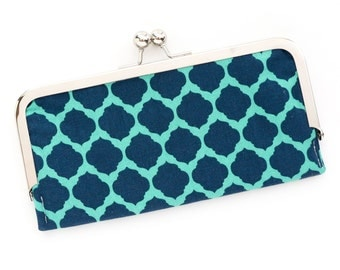 Navy Moroccan Cell Phone Wallet Clutch with Kisslock Frame Closure in Turquoise Navy Trellis Printed Cotton