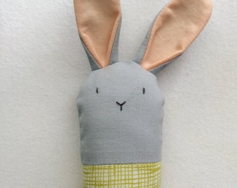 Gray and Green Bunny Rattle - Soft Baby Toy