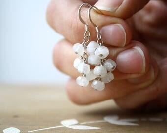 Rainbow Moonstone Earrings Handmade . White Stone Earrings Sterling Silver . Rainbow Moonstone Cluster Earrings - Margerie Collection NEW