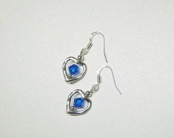 heart shaped dangle earrings with blue swarovski crystals,blue crystal dangle earrings,heart dangle earrings,silver dangle earrings