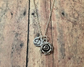 Rose initial necklace - flower necklace, rose jewelry, gift for gardener, florist necklace, silver rose necklace, garden jewelry