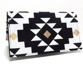 Checkbook Cover or Business Card Holder Black White Gold Geometric