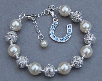 Horseshoe Jewelry, Horseshoe Bracelet, Lucky Charm Bracelet, Good Luck Gift, Something Blue for Bride, Brides Jewelry, Good Luck Jewelry