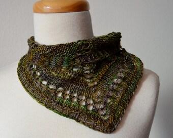 Hand Knit Merino Wool Mini Neckerchief - Muted Murky Rainbow Colors, Soft Wool, Shell Button, Neckwarmer Bib Bandanna
