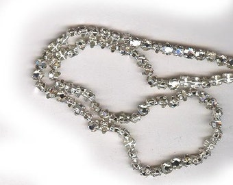 vintage ROSE MONTEES 3mm czech haskell era montees, sew ons, SWAROVSKI crystal clear, prong set faceted crystals