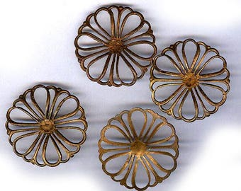 vintage solid brass connectors ROUND shape findings from FRANCE open style, FOUR brass findings antique brass connectors